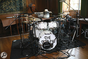 Paul Stewart's acoustic drum kit is extensively close–miked, with a  Yamaha Sub Kick adding extra substance to the kick sound.
