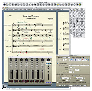 Finale 2012's working environment sees palettes and floating windows accompanying a score window. It's busy, and there are plenty of techniques to learn, but it's certainly configurable. Engraving quality is superb, but in this score, created with the Setup Wizard, longer stave names were disappearing into the margins, or off the page completely.