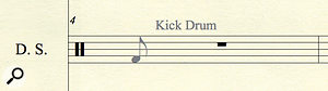 When entering adrum kit line using the mouse, Finale confirms the drum type before you place the note, and will automatically change the notehead appearance when necessary. It's areally nice feature.