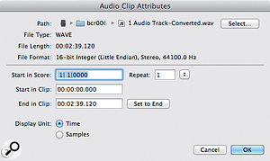 The ability to import or record audio clips into ascore is surprisingly useful. Finale's implementation is basic butworkable.