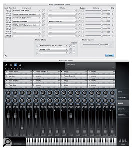 If you've got other virtual instruments, Finale lets you use them — up to eight at once, with insert and master effects too. Here's the Mac version's Audio Units window together with the bundled Aria player plug-in.