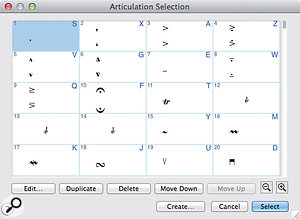 The dialogue box that appears when you double-click in a score with the Articulation tool also reveals its current 'metatool' assignments. Those are the numbers and letters in the top right of each square. If you can commit them to memory, for this tool and others, the dialogue box can be bypassed altogether for the sake of efficiency.