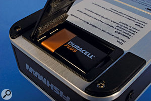 Changing the battery can be a bit fiddly, as there's little space to get your fingers in. Fortunately,  you shouldn't have to do this too often, as Fishman say you can get 27 hours from a PP3 battery.