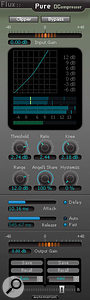 Pure DCompressor is designed for upward expansion, where the dynamic range of signal above a  threshold value is increased.
