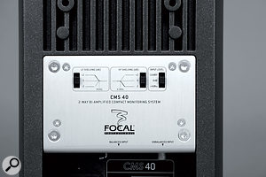 The CMS40's rear panel, with HF and LF shelving controls, and an input sensitivity switch.