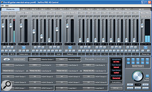 The Saffire Pro 40's Control software is where you can set‑up monitor mixes and manage your output routings. It also includes auseful monitor control section.