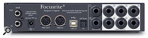The Scarlett 18i6's rear panel features S/PDIF I/O, an input for a 12V power supply, MIDI I/O, a USB 2 port, an ADAT input, and two outputs and six inputs on quarter-inch jacks.