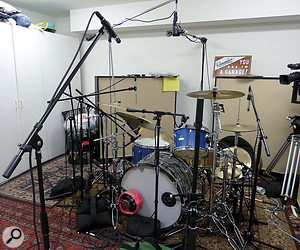 The album's 11 songs were tracked sequentially, and Taylor Hawkins' drum setup would change accordingly — but always within the confines of Dave Grohl's garage!
