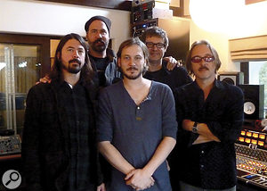 The full Wasting Light production team, from left: Foos frontman Dave Grohl, former Nirvana bassist Krist Nolosevic, engineer James R Brown, mix engineer Alan Moulder and producer Butch Vig.