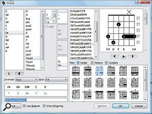 Guitar Pro's chord library is extensive.
