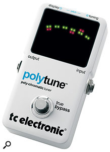 A world first? TC Electronic's PolyTune allows you to tune all your guitar's strings at once.