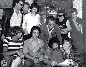 Another Sire punk act were the Dead Boys, here with Stein and CBGBs owner Hilly Kristal (front).
