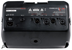 Unusually, the 'Thru' outputs work at microphone signal levels, so they can be patched straight into the mic inputs of afront-of-house mixer. They also pass phantom power from the mixer, allowing capacitor mics to be used with the PA6S.