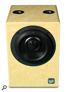 The front baffle is dominated by Geithain's preferred dual-concentric driver arrangement, with the reflex ports exiting, unusually, at the top of the cabinet.