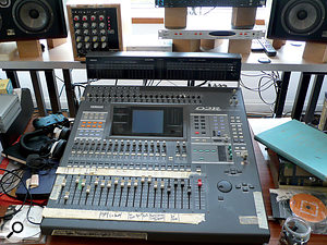 Although the Yamaha O2R digital mixer mainly serves for monitoring purposes these days, it is sometimes pressed into service as an input device when Will Gregory is feeling lazy. Behind it in this photo are the Lynx Aurora A-D converter that offers amore modern option, and aset of four Audix preamps racked by Neil Perry.