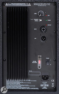 The TNE 112A top cabinet features a link output XLR, an input gain control, and a switchable 'smile' curve EQ preset.