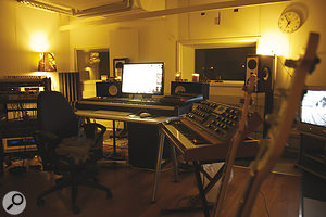 Unlike Hurts' own studio, Jonas Quant's room features a good deal of hardware, such as his Moog Voyager synth (foreground).