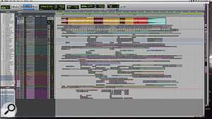 The Pro Tools Edit window from the 'Flashbulb Eyes' session.