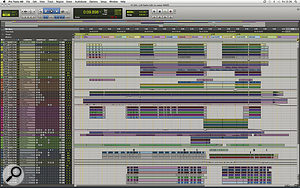 Unusually for an Inside Track feature, the full mix of 'Little Lion Man' almost fits on asingle Pro Tools screen! Ruadhri Cushnan has ordered the tracks so that drums are at the top, followed by bass, acoustic guitar, banjo, keyboards, and finally vocals.