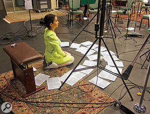 Björk takes a  hands–on role in directing her string players, as here at Syrland Studios during the making of Vulnicura.