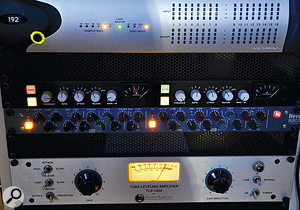 For master bus processing, Cushnan's mix went out of Pro Tools and through his Smart C1 compressor and Neve 8803 EQ. Below them is the Summit compressor used on the lead vocal.