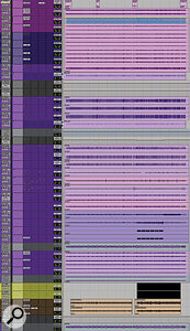 The middle section of the 'Dead Inside' Edit window shows the sheer number of drum tracks that were recorded at The Warehouse.
