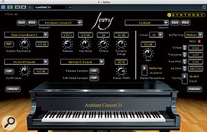 The distinctive piano sound was achieved by treating the output of Synthogy's Ivory plug-in using Audio Ease's Speakerphone.