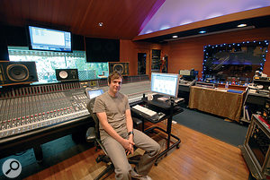 Peter Mokran at the SSL desk in his mix room at Conway Studios.