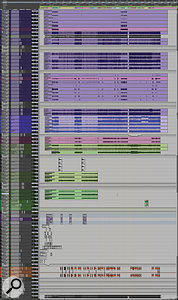 This composite screen capture shows all the audio and aux tracks in the Pro Tools session for 'God Is Dead?'.