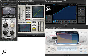 Trevor Muzzy often prefers to use frequency-conscious compression instead of EQ when dealing with problematic frequencies. His plug-in chain for the electric guitar incorporates a Waves C1 for this purpose, a Waves Kramer PIE plug-in and XFER's LFOtool for pumping compression, and a Logic convolution reverb.