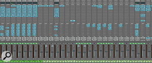 There were lots of vocal tracks in the 'Starships' session. As you can see from this Logic screen capture, the lead vocal tracks (left) had extensive Logic Channel EQ as well as heavy plug-in processing.