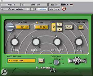 """Quarter–note and eighth–note delay effects on the vocals were provided by Line 6's Echo Farm, with Waves' S1 Stereo Imager used to """"get the delay just a  little bit out of phase""""."""