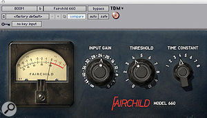 Bomb Factory's Fairchild 660 emulation was the only plug–in compressor used on the drums.