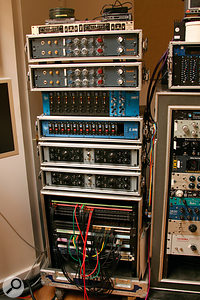 Robert Carranza's outboard gear includes, from top: Drawmer MX50 de–esser, Neve 1073 channel strips (x4), API 512 preamps (x8), API L200 preamps (x12), Universal Audio 2–610 channel strips (x2).