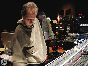 Mike Poole at House of Blues Studio, where Band Of Joy was mixed. Producer and guitarist Buddy Miller is in the background.