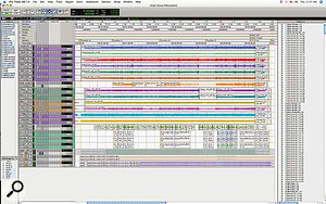The entire Pro Tools Session for 'Angel Dance'. None of the plug‑ins were used in the final mix, and the edits on Robert Plant's vocal track (coloured green, about two‑thirds of the way down) were mainly to tackle sibilance issues. At the bottom you can see mixes were recorded back into Pro Tools from the SSL desk.