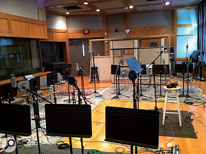 The setup for big-band recording, with Coles 4038s for trumpets (front), Neumann TLM103s for trombones (rear) and Neumann U87s for saxophones (left).