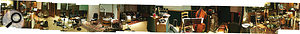 This panoramic shot shows the live room at Woodland Sound during tracking.
