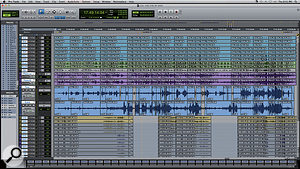 The complete Pro Tools Edit window for the duet between Tony Bennett and John Mayer, 'One For My Baby (And One More For The Road)'. The two large, edited tracks in the centre are the vocal comps; above them are the tracks for the jazz quartet, and below them the big band that was added later. Note how many of the edits were made across both the quartet and the vocal tracks. Spill from the other instruments is clearly visible on the vocal parts.