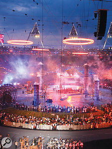 The Pandemonium section of the ceremony culminated in the spectacular sight of the Olympic rings being forged and floated into the sky.