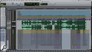 Amy Winehouse's last recorded performance, as captured in Pro Tools. Here, the two singers were performing to 'locked' backing tracks, so there are no edits to the quartet recordings.