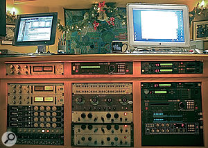 Most of the processing on the Shine ALight mix was done using outboard, much of it residing in this rack — including the Urei 1178 and Empirical Labs Distressor compressors and Pultec EQP 1A3 equalisers.