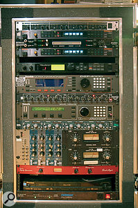 Many of Bob Clearmountain's most‑used processors are kept in this travelling rack, including the Roland SDE3000 delays and Urei LA3A compressors used on Shine ALight.