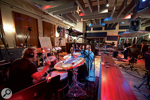 Aerosmith drummer Joey Kramer (left) and second guitarist Brad Whitford lay down a rhythm track at Pandora's Box. The band and producer Jack Douglas were keen that the album should have a live feel.