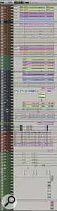 This composite screenshot shows most of the Pro Tools Session for 'Mine' (various effects and group tracks are omitted at the bottom). Tracks are colour‑coded and organised by instrument. From top: drums (brown), bass (green), guitars (blue), lea