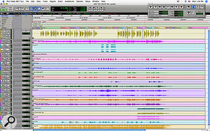 This Pro Tools screen capture shows all of the tracks that were actually used on the mix of 'Ain't No Grave', apart from Rick Rubin's last‑minute overdubs.