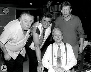 A young David Ferguson, far right, with Cowboy Jack Clement (far left) and country legends Johnny Cash and Roy Acuff, in aphoto taken around 1988.
