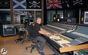 Mike Fraser at the Neve desk in Warehouse Studio Two, where Black Ice was recorded.
