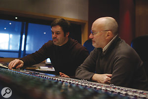 Yvan Bing (left) and Phil Collins during the mix of Going Back at Dinemec Studios, Geneva.