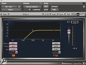 Many of the reverbs used on the mix were plate or (as here on guitar) spring patches, EQ'ed to roll off some bass.